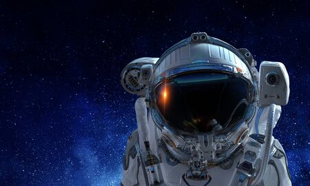Photo for Astronaut man on space mission with starry sky on the background. Mixed media - Royalty Free Image