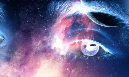 Photo pour Human eye and space starry fantasy background - image libre de droit