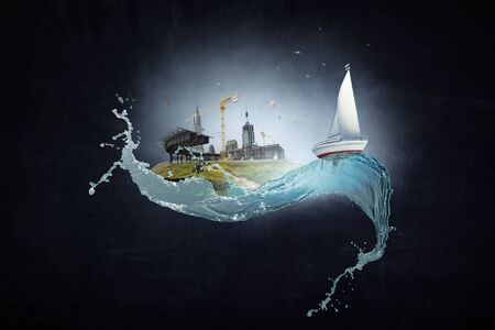 Photo pour Image of boat with white sail on the wave splash. Mixed media - image libre de droit