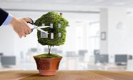 Photo pour Little Eco House on the green grass concept. Mixed media - image libre de droit