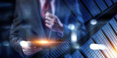Photo pour Business and innovation concept . Mixed media - image libre de droit