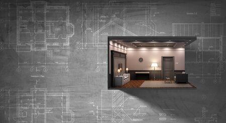 Photo pour Real estate concept with building model against wall. Mixed media - image libre de droit