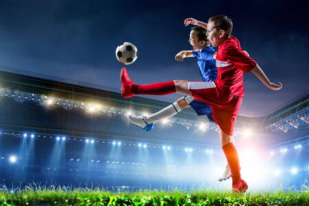 Photo for Little soccer champions. Mixed media - Royalty Free Image