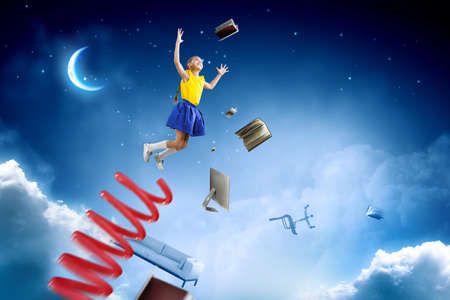 Photo for Kids jumping in the sky - Royalty Free Image