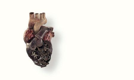 Photo pour Image of human heart made of metal elements - image libre de droit