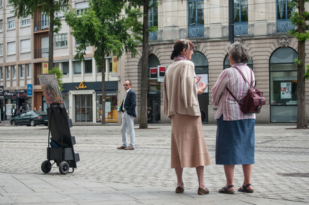 MULHOUSE - France - 9 June 2017 - Jehovah's witnesses in the street