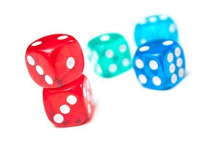 Photo pour Closeup of colorful dices on white background - image libre de droit