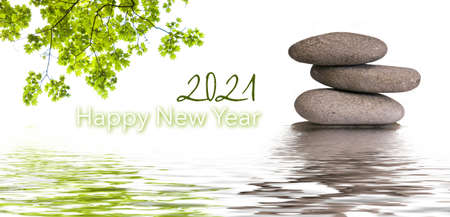Photo pour zen banner - happy new year card 2021 - image libre de droit