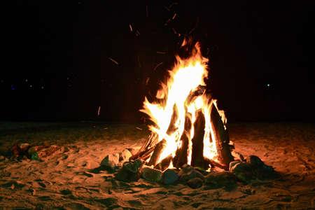 Bonfire on a beach at night