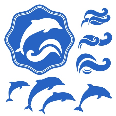 Set of Dolphins silhouettes  Blue waves on White