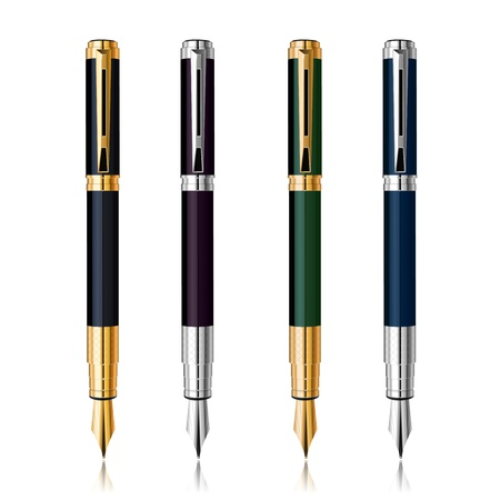 Classic Pen Set with reflection  Gold and silver