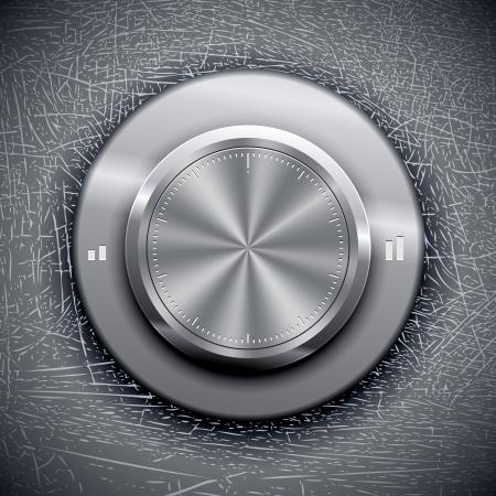 Volume Knob on Grunge background. Vector illustration