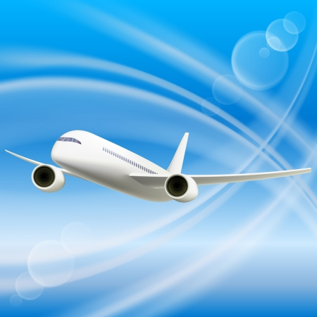 Illustration pour White Airplane in sky  Cool Vector illustration - image libre de droit