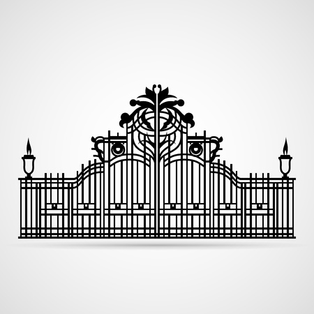 Graphical Ornamental Gate on white  Vector illustration