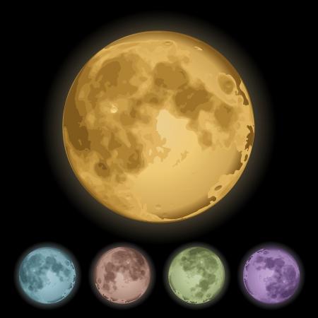 Realistic Isolated full moon on black  Vector illustration