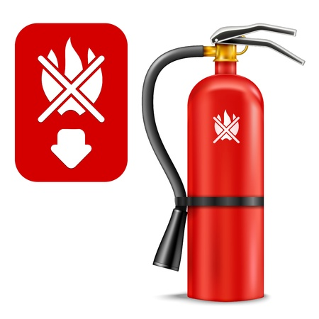 Fire Extinguisher and Sign isolated on white. Illustration