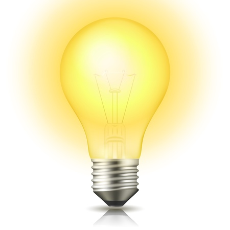 Realistic lit light bulb isolated on white  Vector Illustration