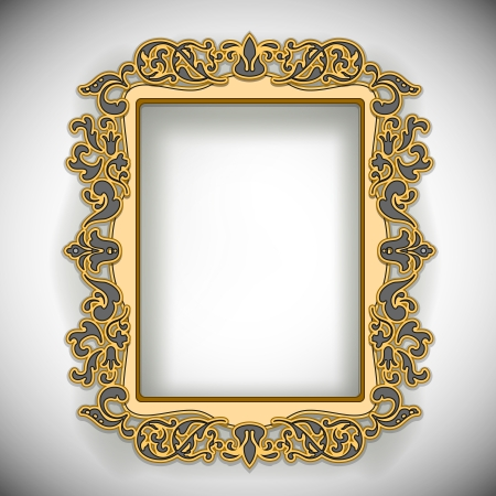 Carved Wooden Frame isolated on white  Illustration