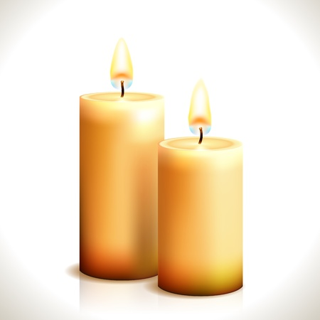 Burning Candles isolated on white  Illustration