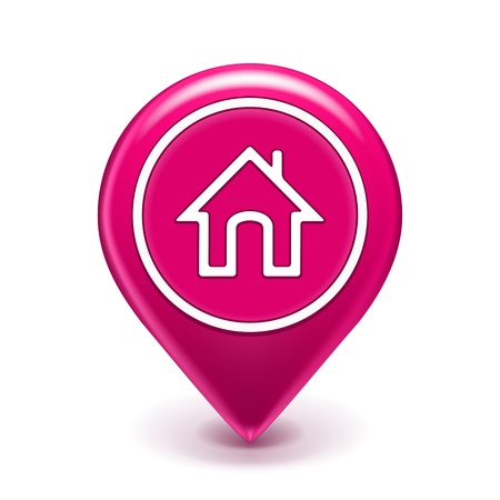 Home Map Location Icon isolated on white  Illustration