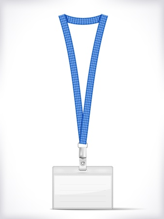 Lanyard with Tag Badge Holder isolated on white  Vector Illustration