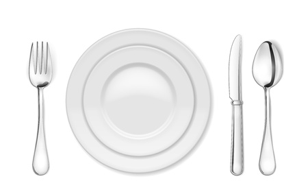 Vector Dinner plate, knife, fork and spoon isolated on white backgrond