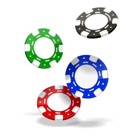 Vector Poker Chips isolated on white background  EPS10 opacity