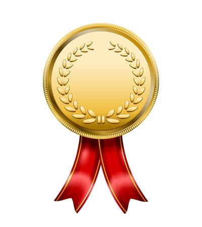 Award Medal Rosette Label isolated on white background