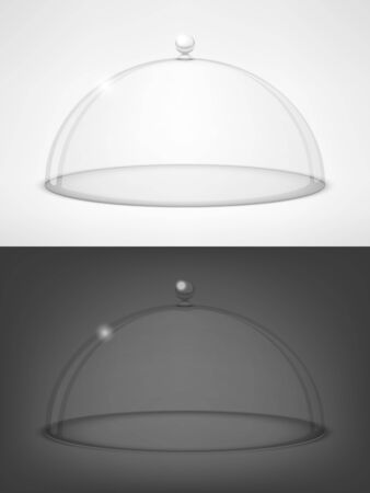Glass half-sphere lid on black and white background