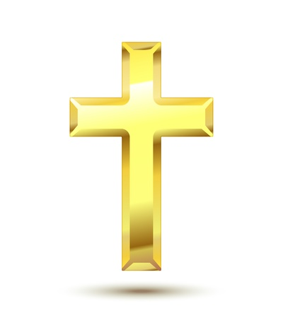 Illustration pour Golden Christian Cross isolated on white background - image libre de droit