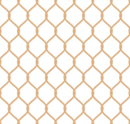 Ilustración de Rope marine net pattern seamless vector on white background - Imagen libre de derechos