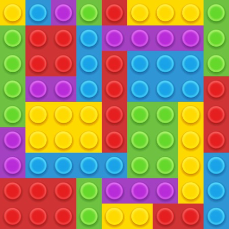 5 colors blocks plastic constructor vector illustration
