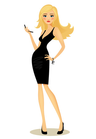 Vector illustration of a beautiful curvaceous glamorous girl with long blond hair in a black dress posing with her hand on her hip holding a mobile phone  on white