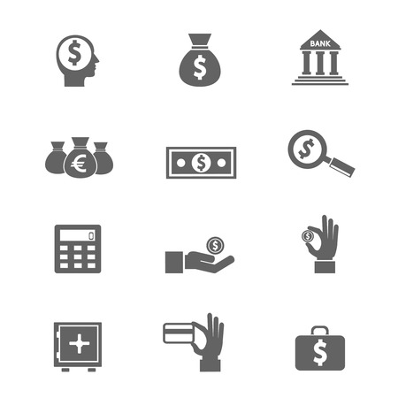 Illustration pour Money and coin icon set vector eps10 illustration - image libre de droit