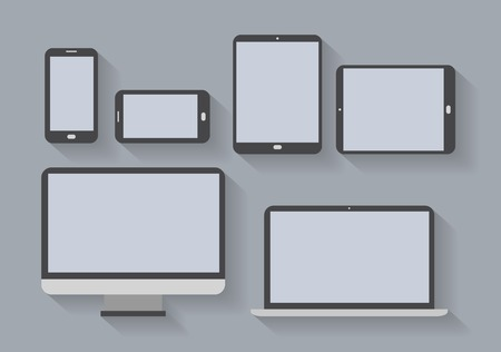 Electronic devices with blank screens  Smartphones, tablets, computer monitor, net book  Vector