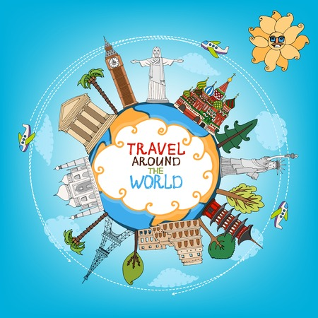 travel landmarks monuments around world with plane, sun and clouds