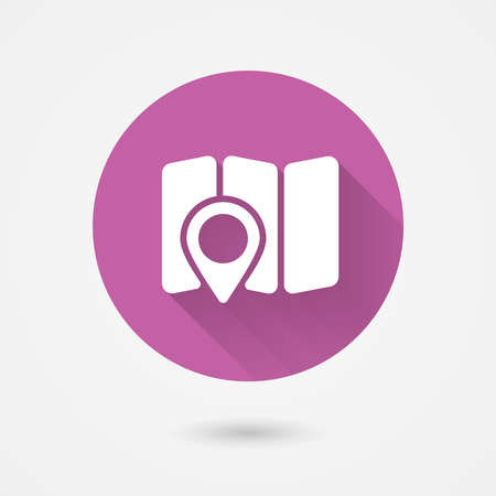 map and navigation icon in flat style for web and mobile apps