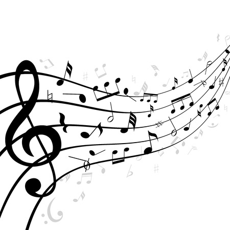 Music notes on a stave or staff consisting of five lines curving into the distance with diminishing perspective and a clef in the foreground with scattered notes  black and white illustration