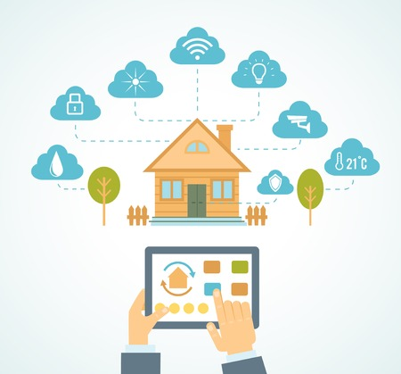 illustration concept of smart house technology system with centralized control