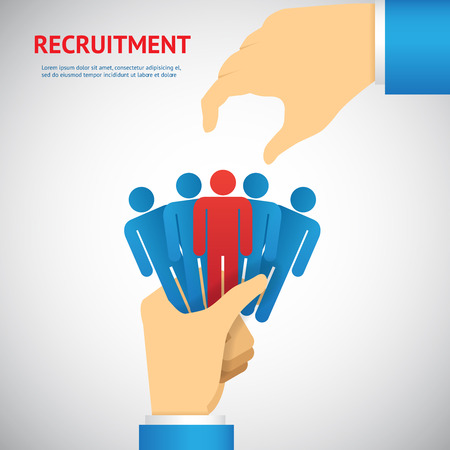 human resource and recruitment concept: hand select one persons of stack