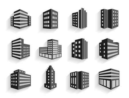 Set of dimensional buildings icons in grey and white with shadow depicting high-rise commercial buildings  office blocks and residential apartments