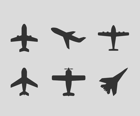 Illustration for Vector airplane icons. Passenger plane, fighter plane and screw - Royalty Free Image