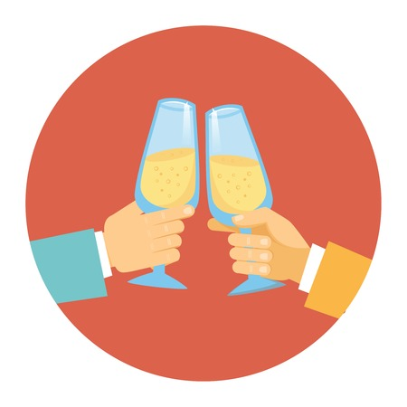 Vector illustration in a round icon of two men wearing suits toasting with elegant glasses of sparkling bubbly champagne to celebrate a success  partnership or special event