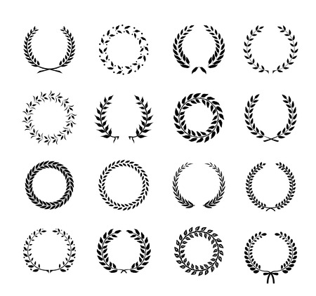 Set of black and white silhouette circular laurel  foliate and wheat wreaths depicting an award  achievement  heraldry  nobility and the classics  vector illustration