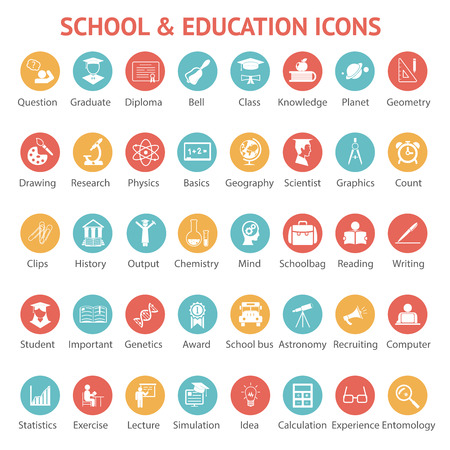 Photo for Large set of 40 different colorful school   college  university and education icons on round web buttons each labeled below to show what it represents  vector illustration - Royalty Free Image