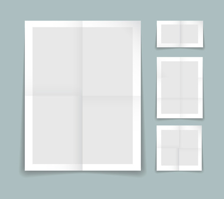 Illustration pour Folded paper vector template with four different sheets of grey paper with white borders with fold or crease lines and blank copyspace for your text or advertising - image libre de droit