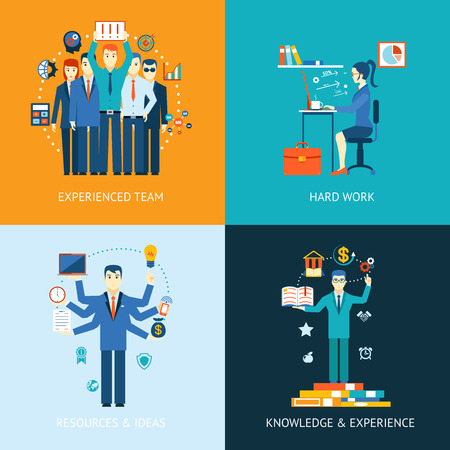 Illustration pour Flat design concept icons for teamwork and human resources, knowledge and experience - image libre de droit