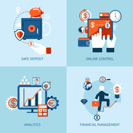 Vector icons of financial analytics, online banking and payment control concepts