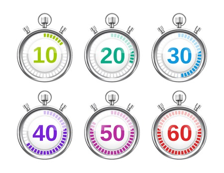 Six Colorful Stopwatches with Varying Times