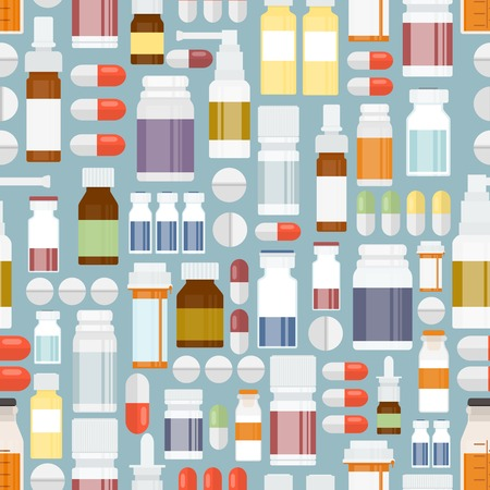 Pills and Drugs in Seamless Pattern